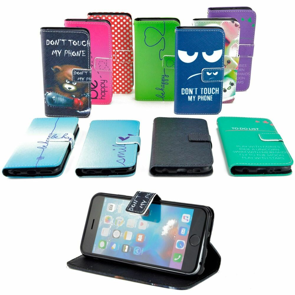 handy tasche f r samsung galaxy flip cover case schutz h lle etui motiv wallet ebay. Black Bedroom Furniture Sets. Home Design Ideas