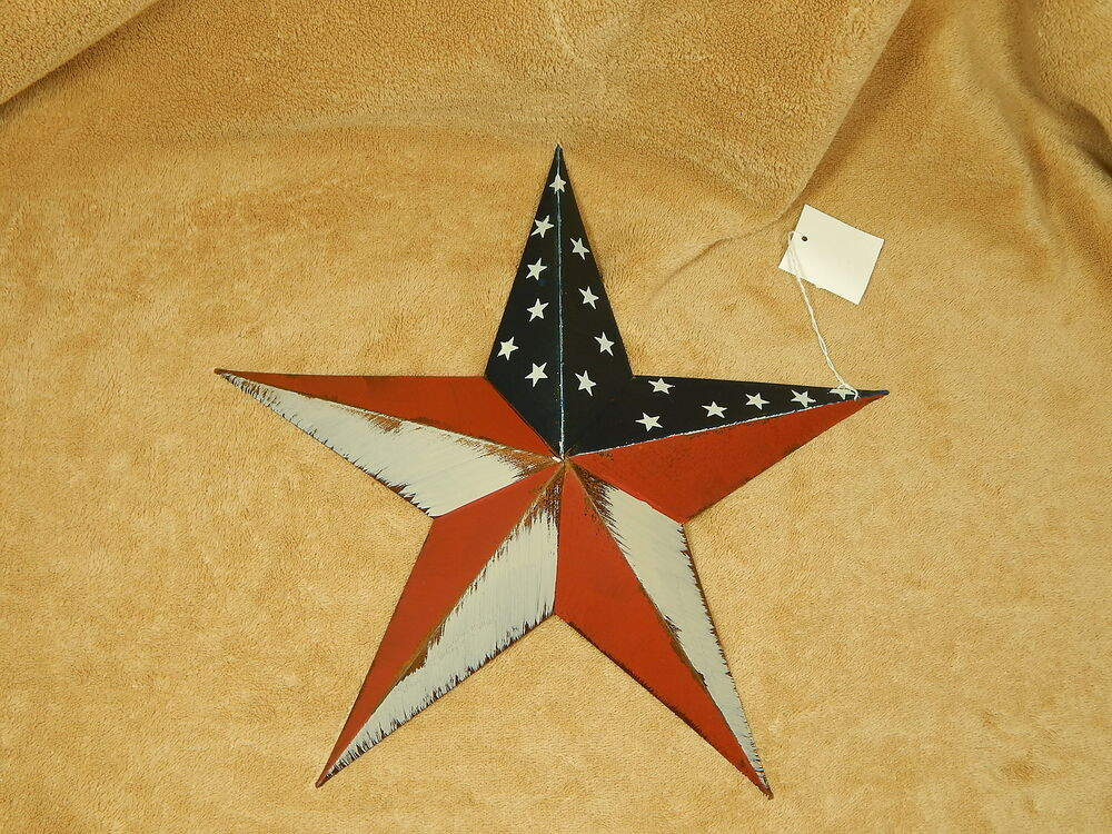 patriotic americana metal star wall decor barn 12 ebay. Black Bedroom Furniture Sets. Home Design Ideas