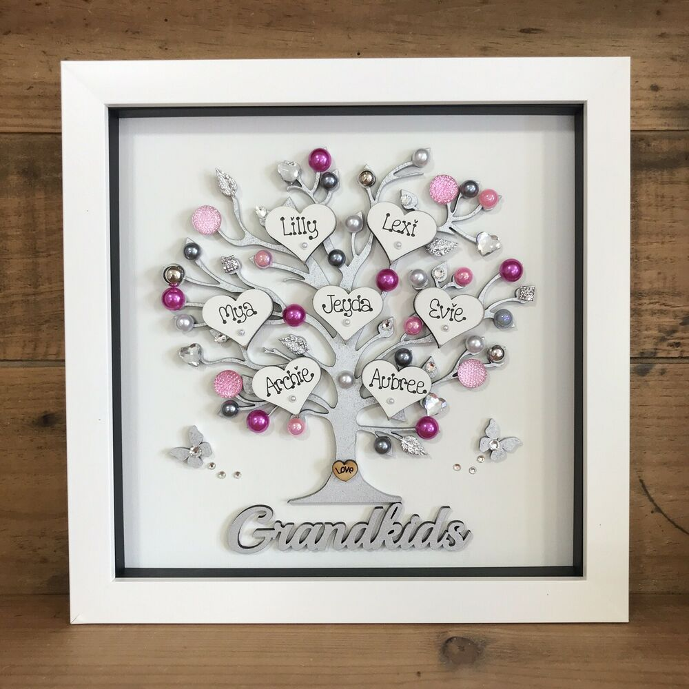Personalised Box Frame Family Tree Scrabble Gift Mothers