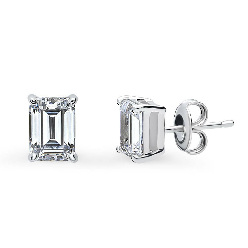 berricle sterling silver emerald cut cz solitaire stud. Black Bedroom Furniture Sets. Home Design Ideas