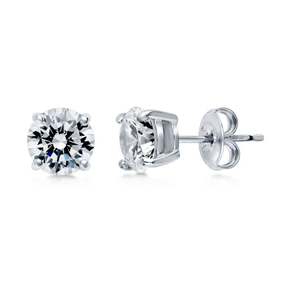 berricle sterling silver round cut cz solitaire stud. Black Bedroom Furniture Sets. Home Design Ideas