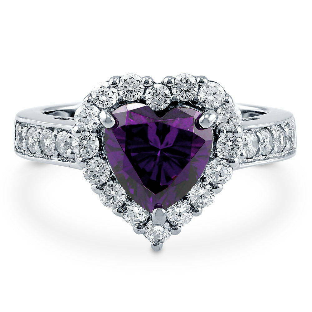 silver heart shaped simulated amethyst cz halo engagement. Black Bedroom Furniture Sets. Home Design Ideas
