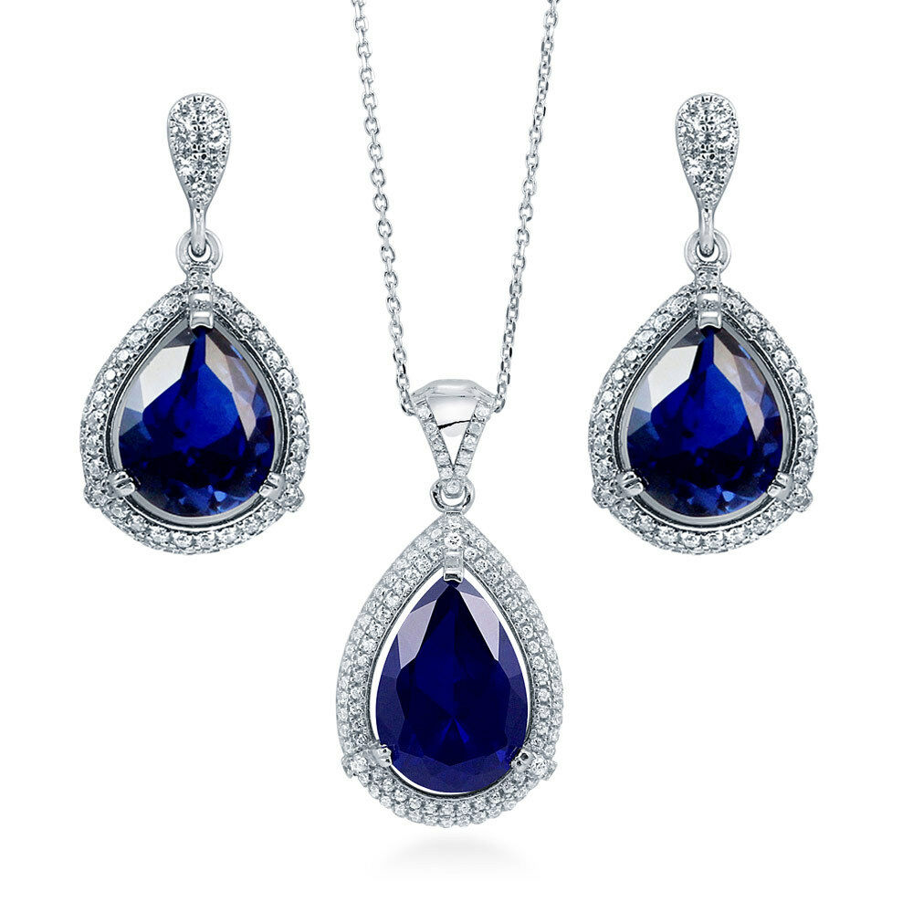 sapphire necklace and earrings set silver pear simulated sapphire cz halo bridesmaids 7271