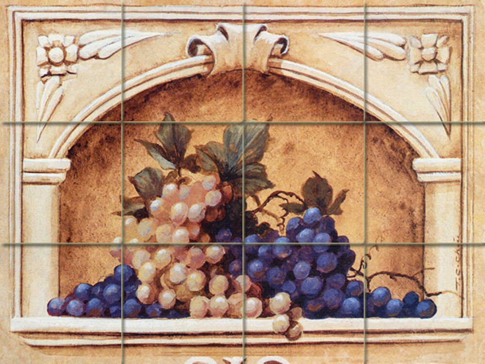 24 x 18 mural ceramic grape arch backsplash tile 110 ebay for Ceramic tile mural backsplash