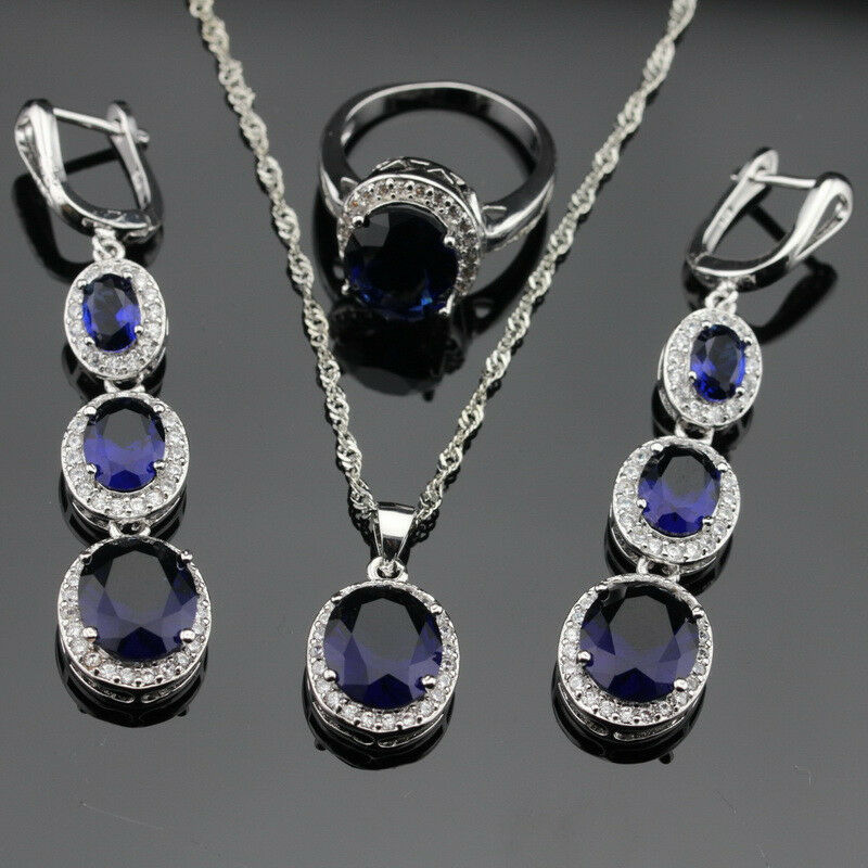 sapphire necklace and earrings set blue sapphire jewelry set 925 silver necklace 6114