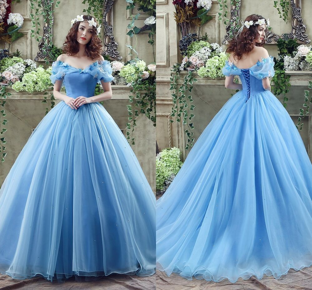 Disney Wedding Dresses 2019: Cosplay Cinderella Wedding Dresses Ball Gown Blue Organza