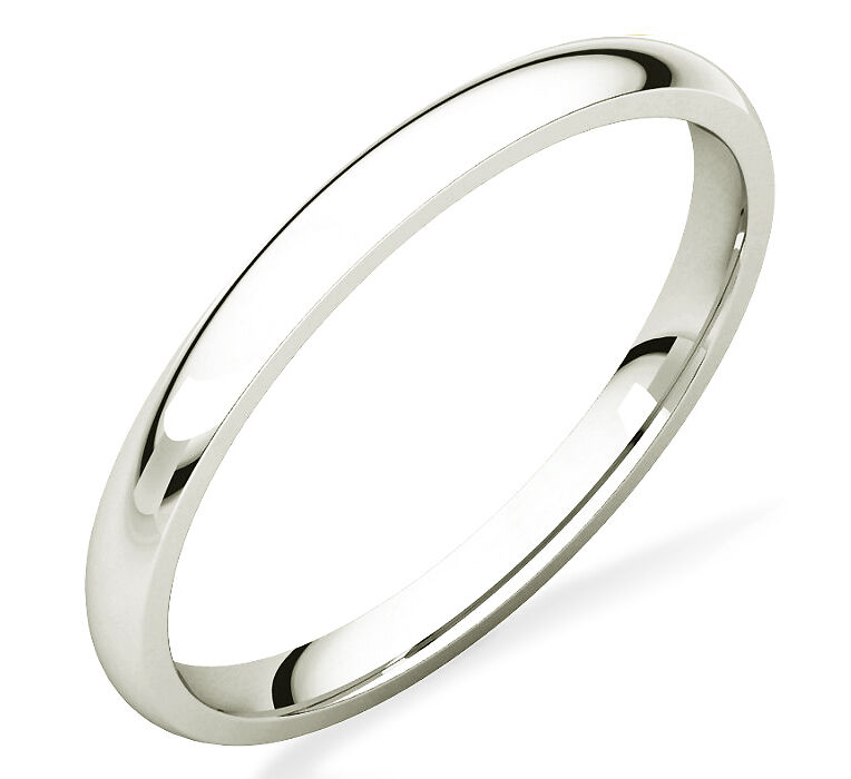 Ladies 100 10K White Gold Plain Domed Wedding Band 2mm Wide