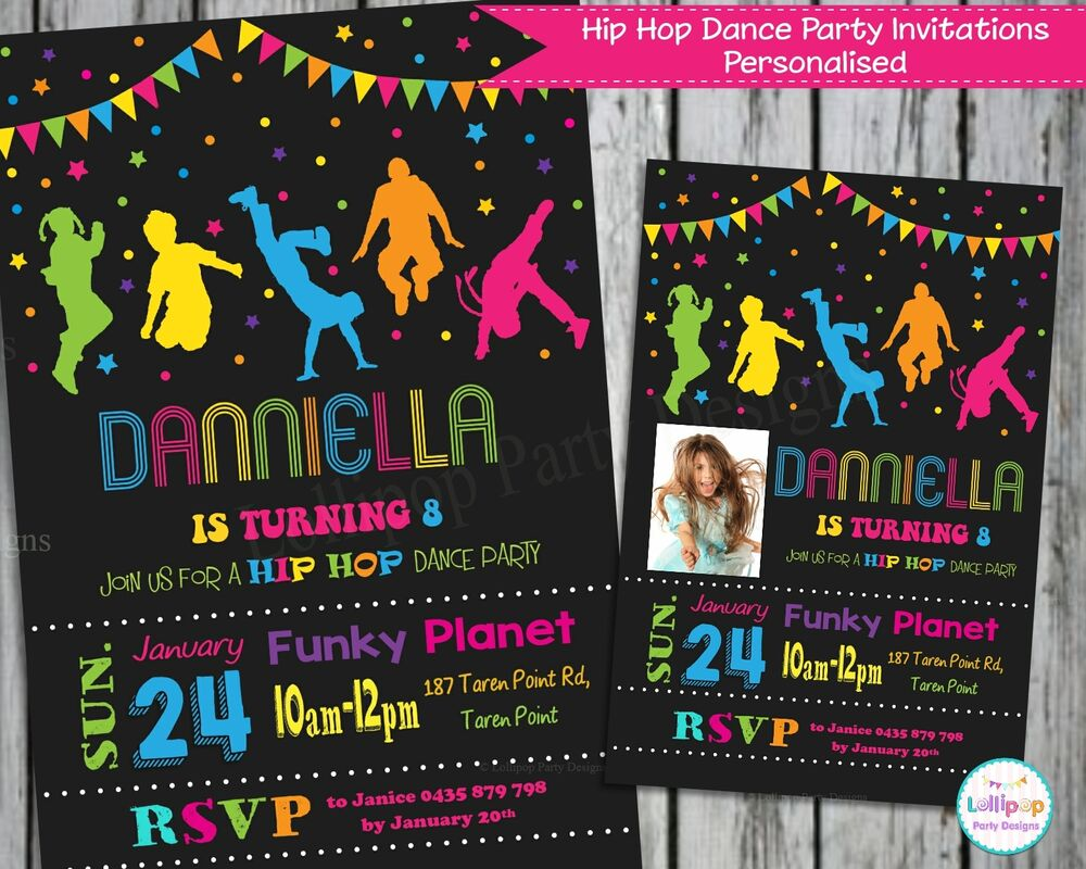 DANCE PARTY INVITATIONS INVITE PERSONALISED HIP HOP CHALKBOARD CARDS ...