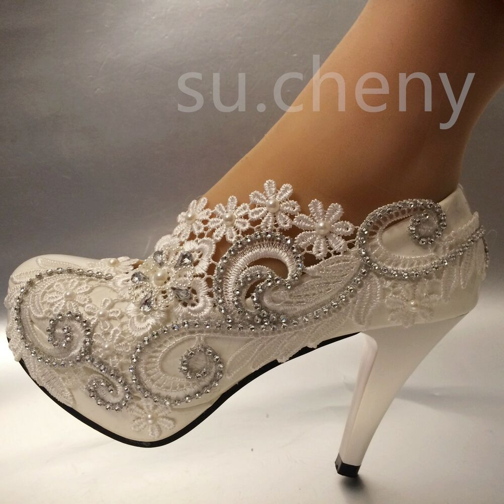 "3""/4"" White Light Ivory Lace Crystal Wedding Shoes Bridal"