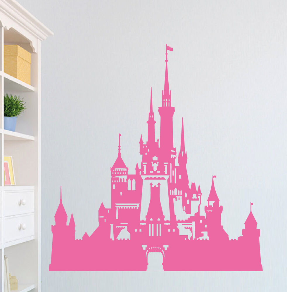 Disney castle wall sticker vinyl wall art decal transfer for Disney wall stencils for painting kids rooms