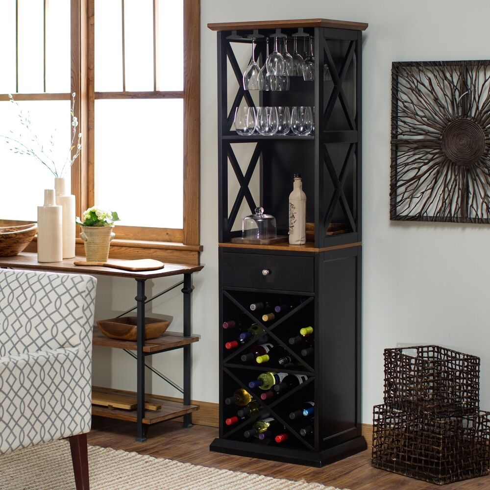 Bar Cabinet Rustic Wine Rack Tall Kitchen Furniture Storage Bottle Tower Wood Ebay
