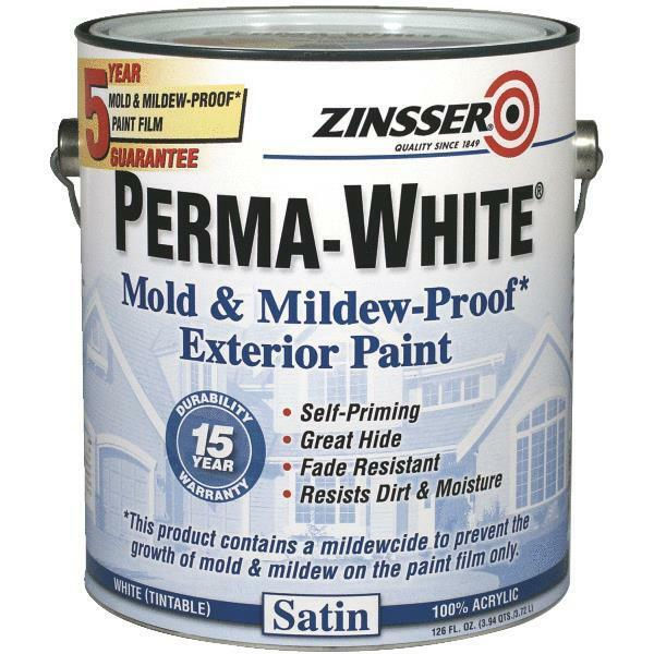 Details About 4 Gal Zinsser Perma White Tintable Satin Mildew Proof Exterior Wood Paint 3101