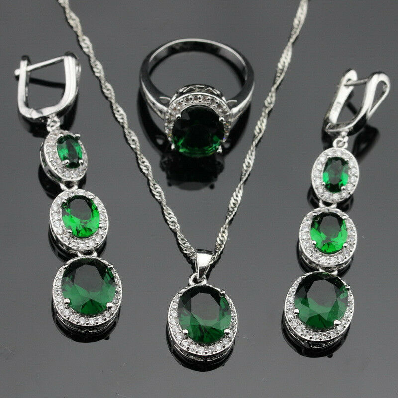 Round Green Emerald Jewelry Set Women 925 Silver Necklace