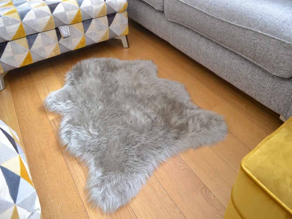 Fluffy New Plain Silver Grey Sheep Skin Rug Soft Faux Fur