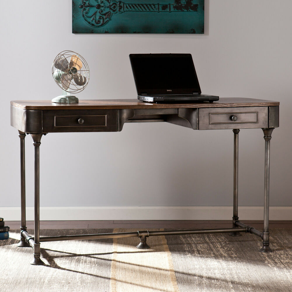 Rustic writing desk industrial home office furniture workstation computer metal ebay - Metal office desk ...