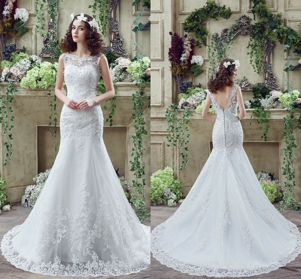 Cheap white ivory wedding dresses mermaid lace appliques for White wedding dress cheap