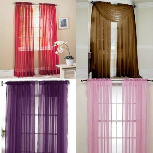 Hot Scarf Sheer Voile Door Window Curtains Drape Panel