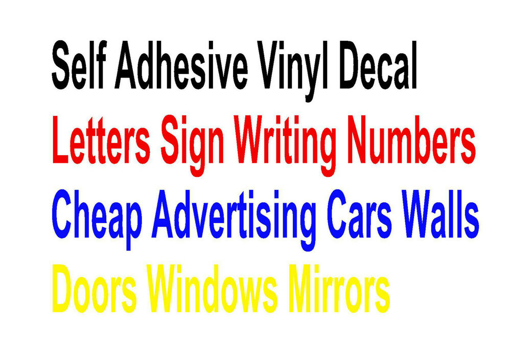 Self Adhesive Vinyl Decal Letters Sign Writing Numbers