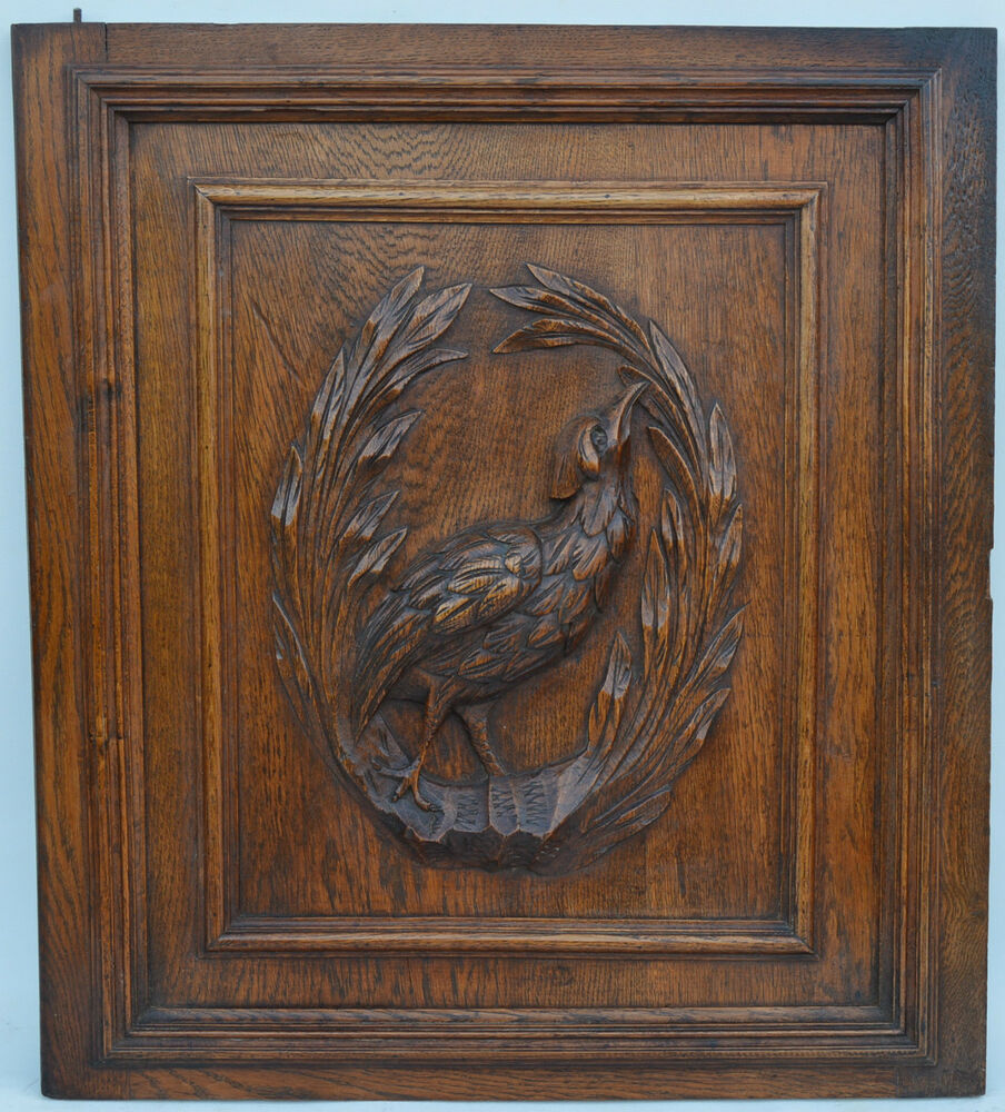 French antique hand carved wooden architectural door panel
