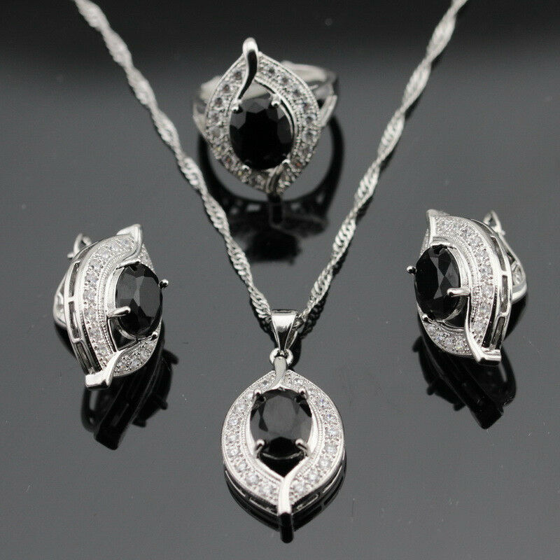 sapphire necklace and earrings set eye shaped black sapphire jewelry set 925 silver necklace 9393