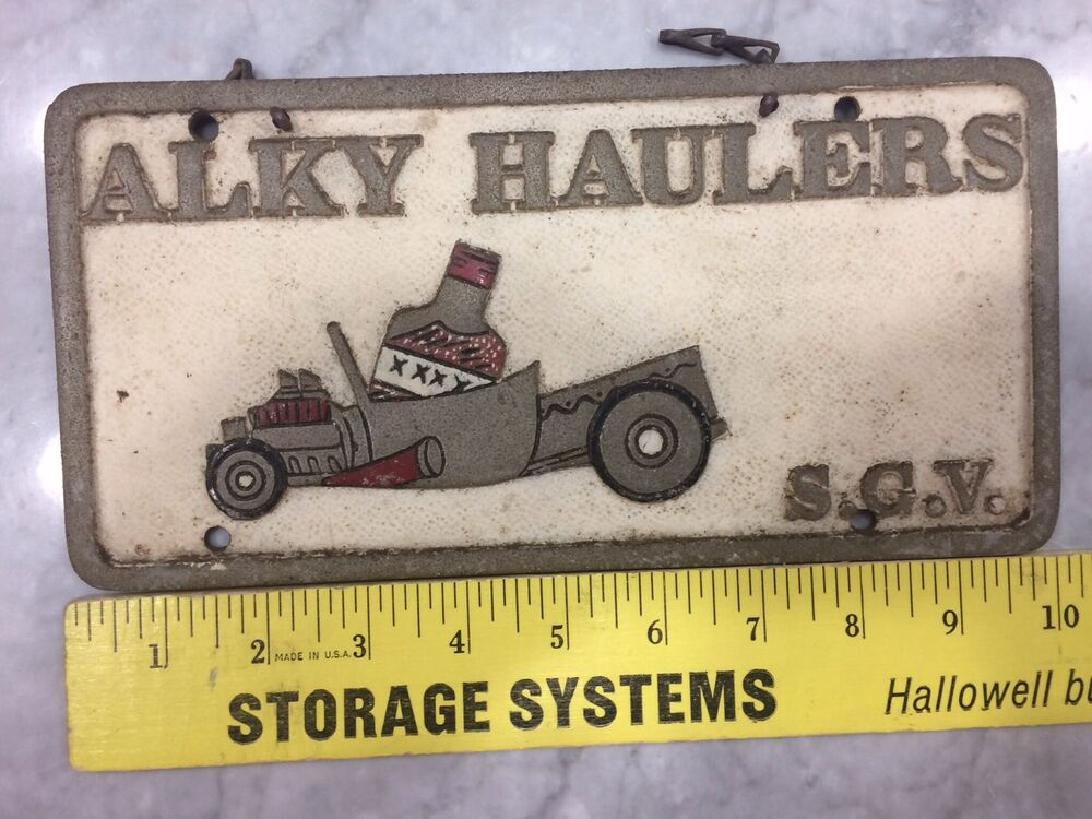 aluminum car club plaque alky haulers sgv san gabriel vally so california 60 39 s ebay. Black Bedroom Furniture Sets. Home Design Ideas