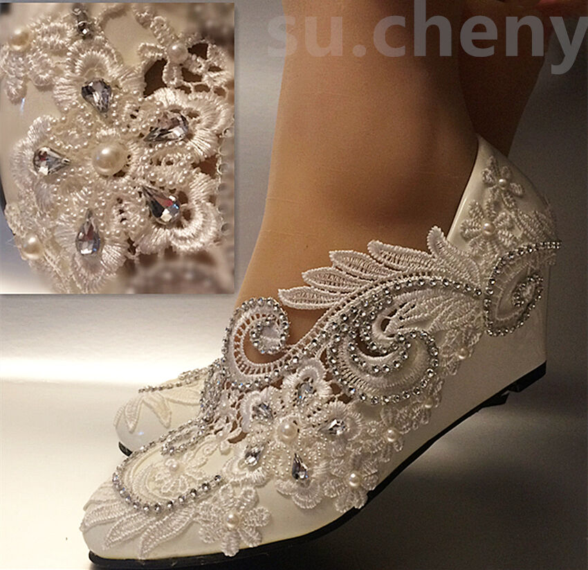 Ivory Lace Bridal Shoes With Pearl Amp