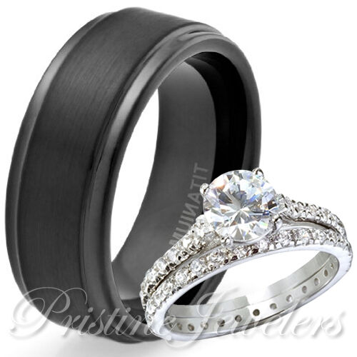 925 sterling silver eternity wedding ring mens black
