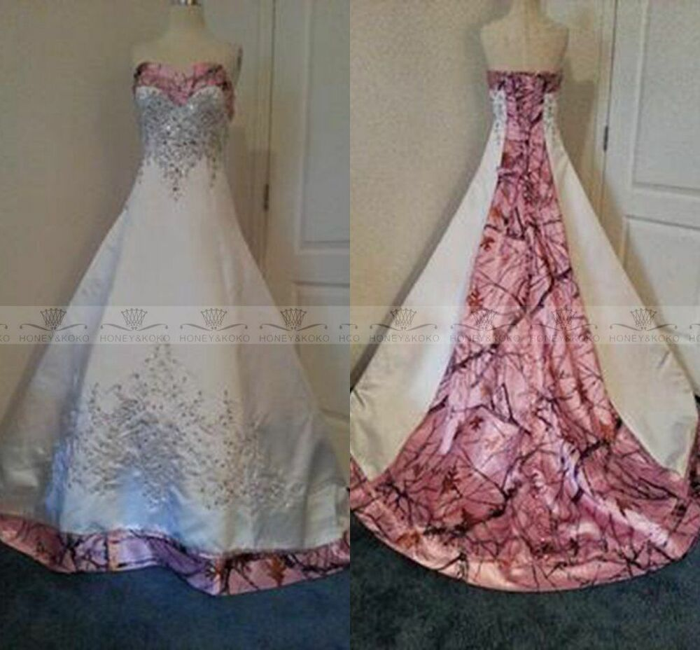 Pink Camo Wedding Dresses Ball Gown Camouflage Embroidery