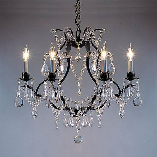 Swarovski Crystal Dollhouse Chandelier: Swarovski Crystal Trimmed Chandelier! Wrought Iron Crystal