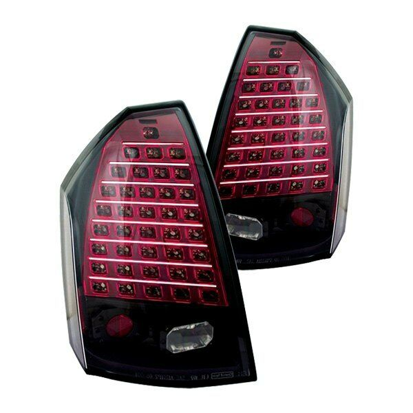 Chrysler 300 2006 Black Led Tail Lights: Chrysler 300 2005-2007 IPCW LEDT-411CB Black/Red LED Tail