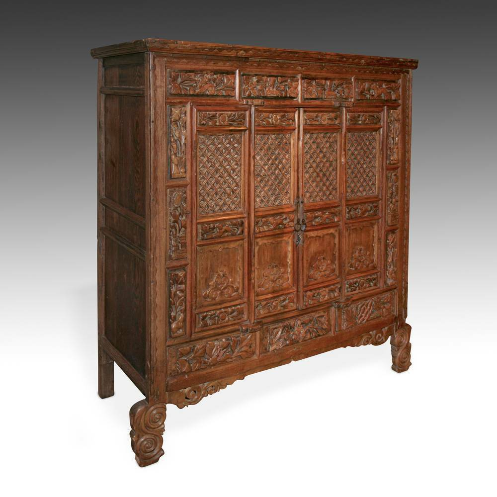 Furntiure: FINE ANTIQUE CHINESE HAND-CARVED ELM WOOD CABINET