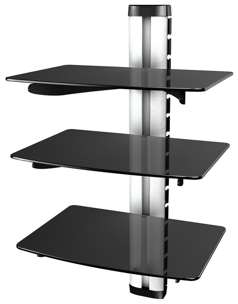 dvd regal glas wand glasregal hifi wandboard halterung ebay. Black Bedroom Furniture Sets. Home Design Ideas