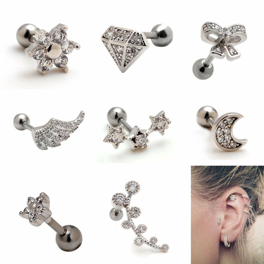 2pcs 16g cute upper ear cartilage earring studs piercing