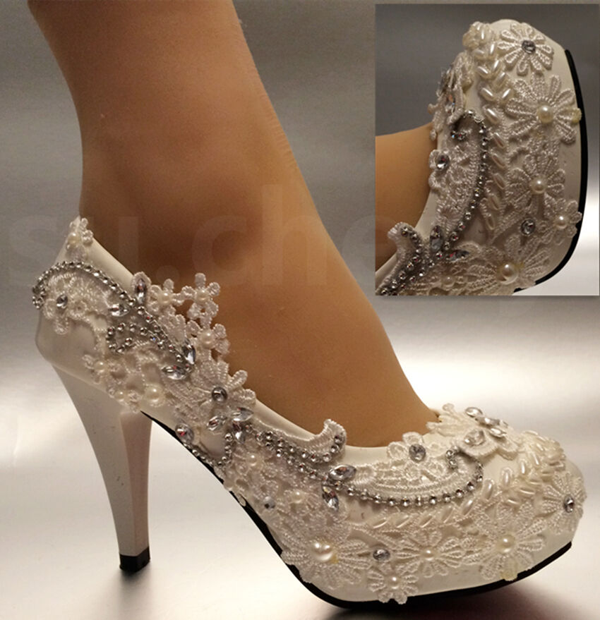 "Wedding Bridal Heels: 3""/4"" White Light Ivory Lace Crystal Wedding Shoes Bridal"