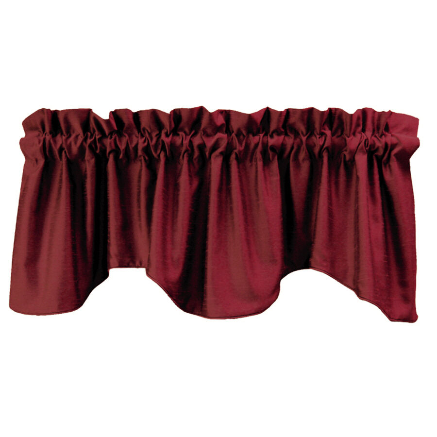 Allen roth florence faux red silk tapered window valance for 18 x 60 window