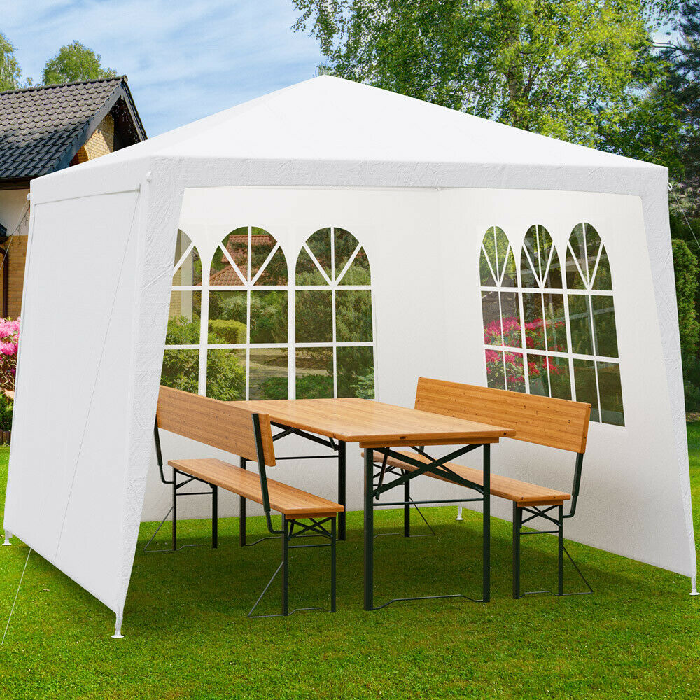 pavillon 3x3m seitenteile festzelt partyzelt gartenzelt gartenpavillon wei ebay. Black Bedroom Furniture Sets. Home Design Ideas