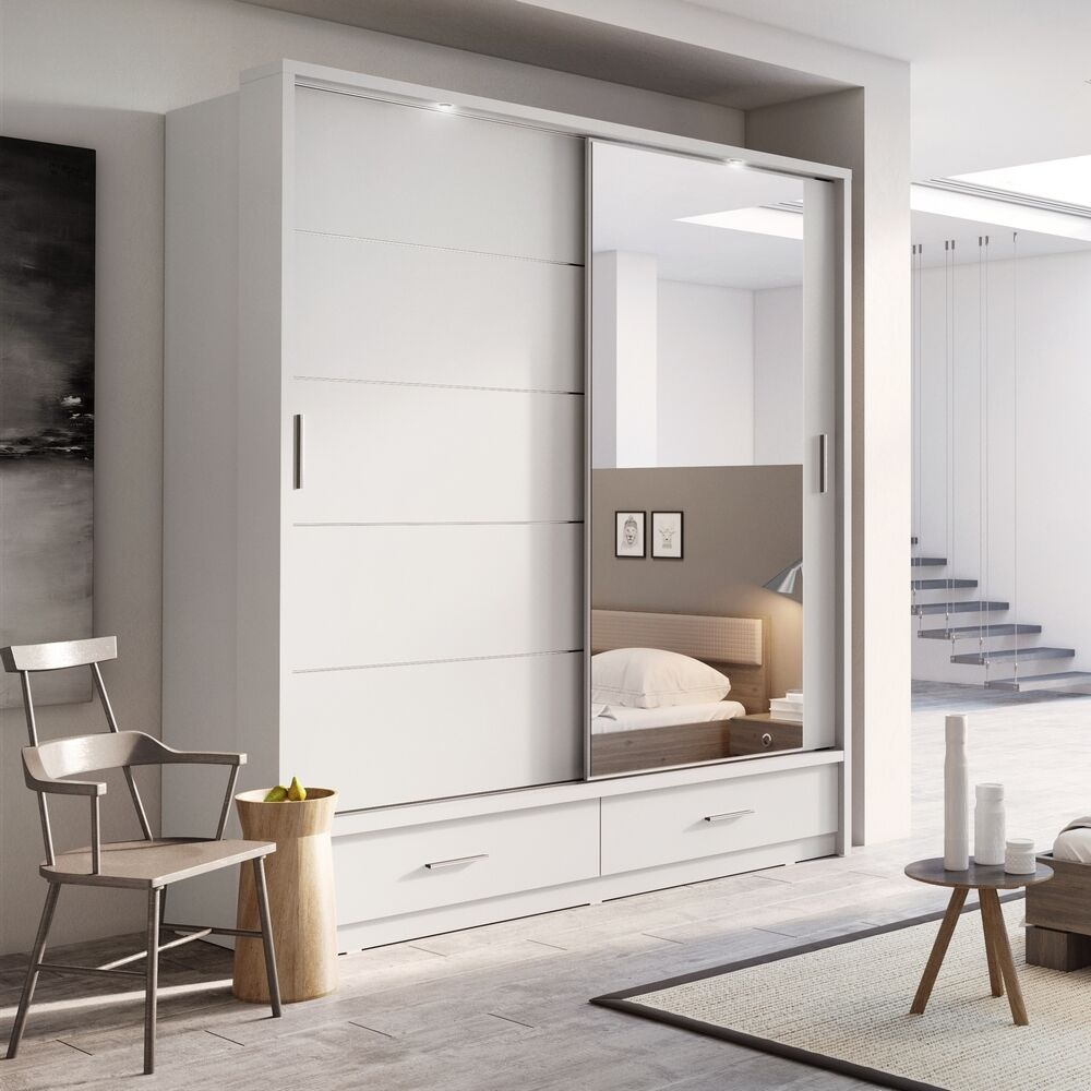 bedroom mirror sliding door wardrobe arti 5 200cm in matt white ebay