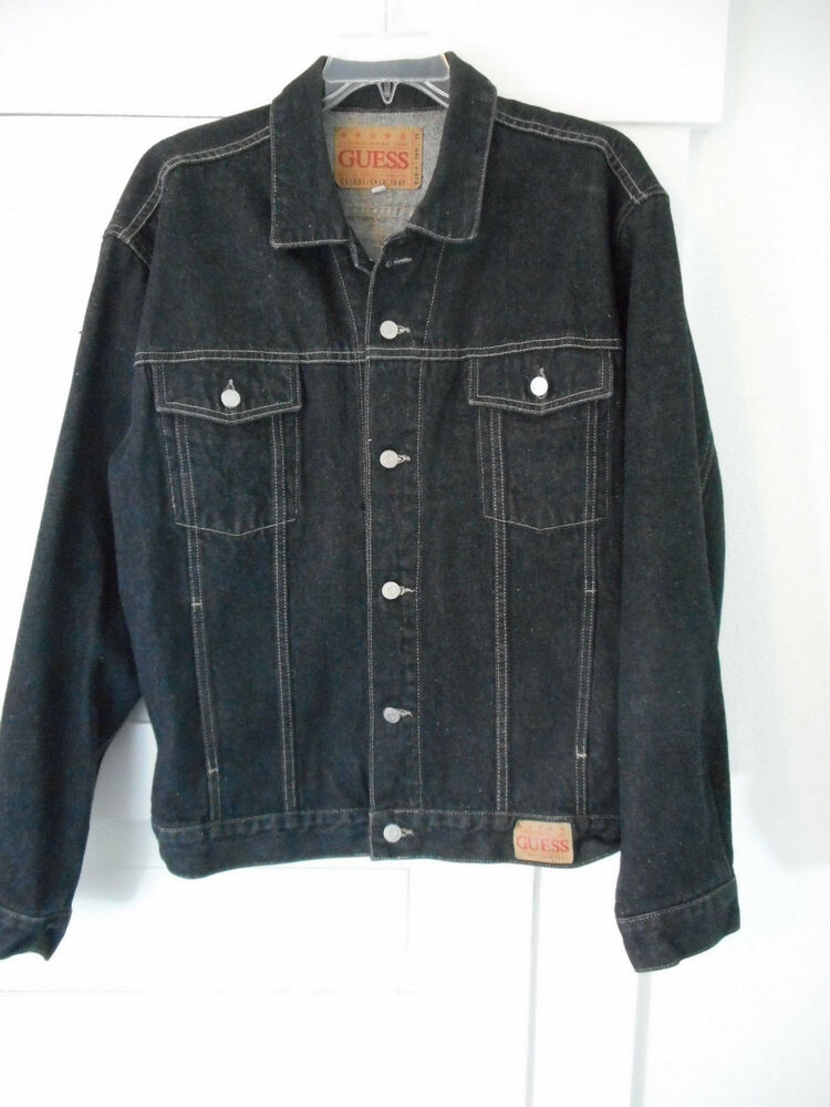 Guess Denim Trucker Jacket Black Size Xl Dsn10m11 Made In