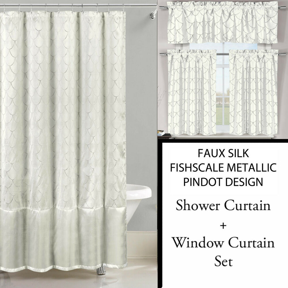 Ivory White Shower Curtain And 3 Pc Window Curtain Set