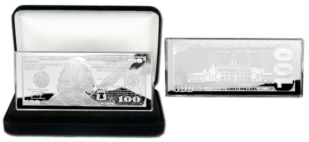 Discounted 2018 4oz Currency Silver Bar Franklin 100