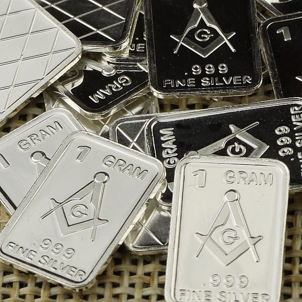 Lot Of 30 X 1 Gram 999 Fine Silver Bar Freemasonry