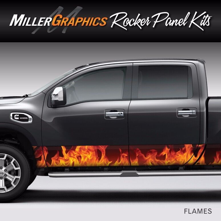 Flames Fire Orange Rocker Panel Graphic Decal Wrap Kit For Truck - Graphics for cars and trucksfull color flames graphics car truck decals truck decals