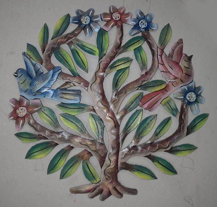 Wall Art Flowers And Birds : Tree of life wall art with colored flowers and birds