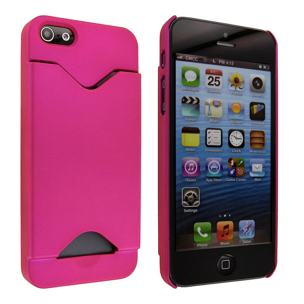 iphone 5s getting hot pink back cover with credit card holder for 14803