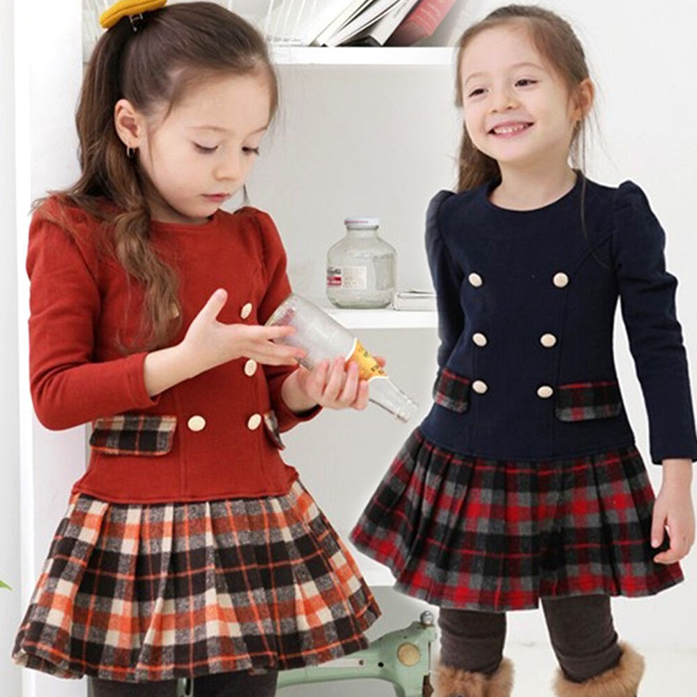 Toddler Girls Clothes Size 2-8Y Baby Kids Clothing Plaid ...
