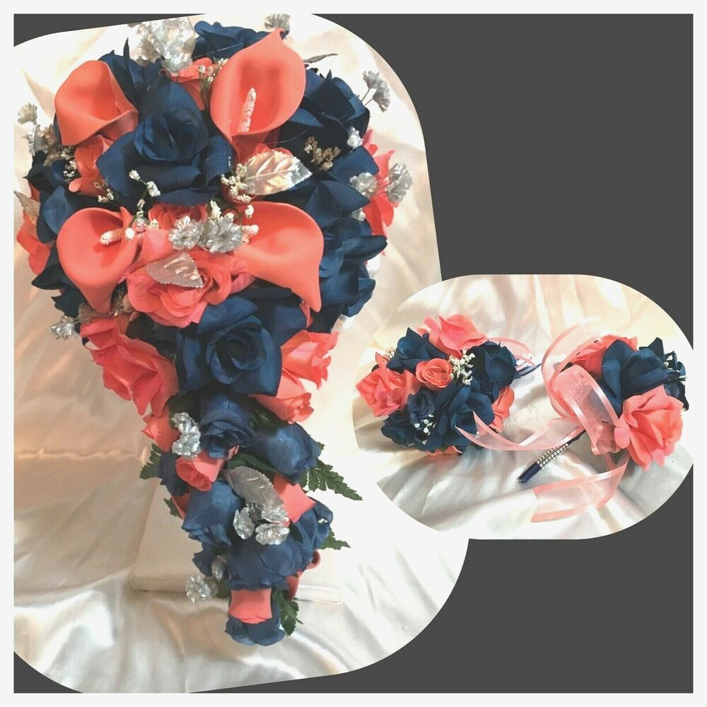 coral navy blue marine calla lily cascade wedding bridal bouquet package ebay. Black Bedroom Furniture Sets. Home Design Ideas