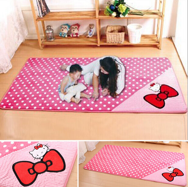 pink bow hello kitty non slip kids room bedroom area rug mat carpet 4 sizes ebay. Black Bedroom Furniture Sets. Home Design Ideas