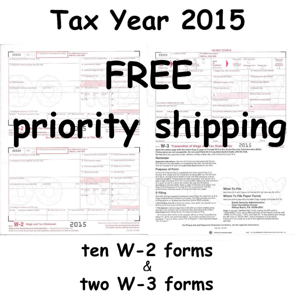 10) W-2 Wage & Tax Statement 2015 IRS Tax Forms & 2) W-3 ...