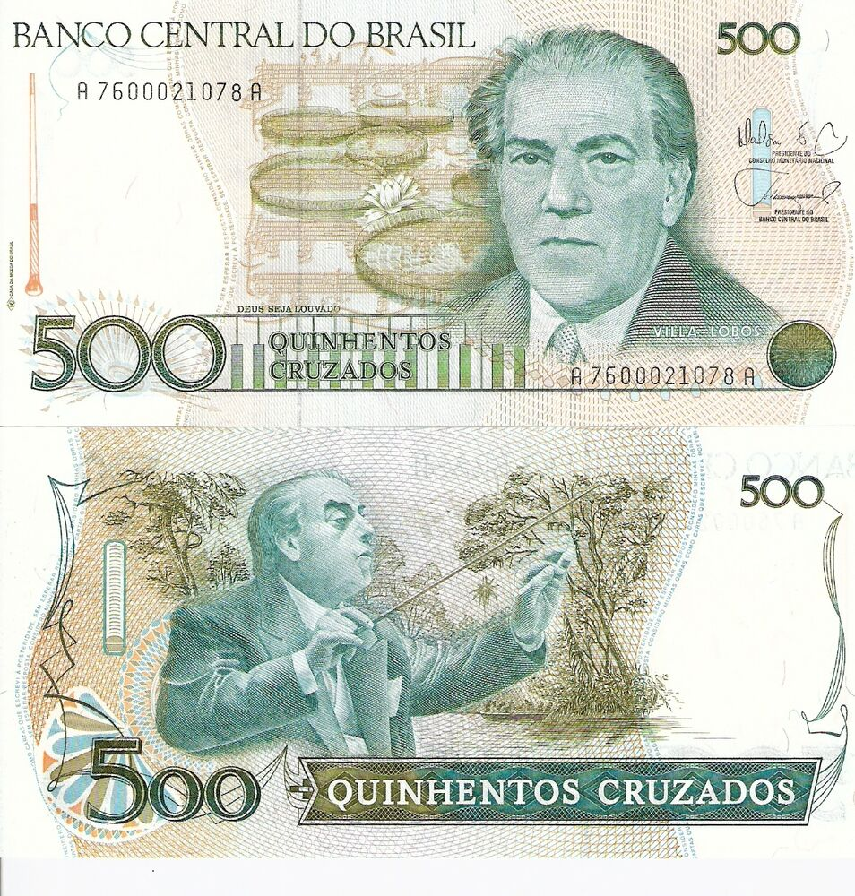 Money: BRAZIL 500 Cruzados Banknote World Money Currency BILL