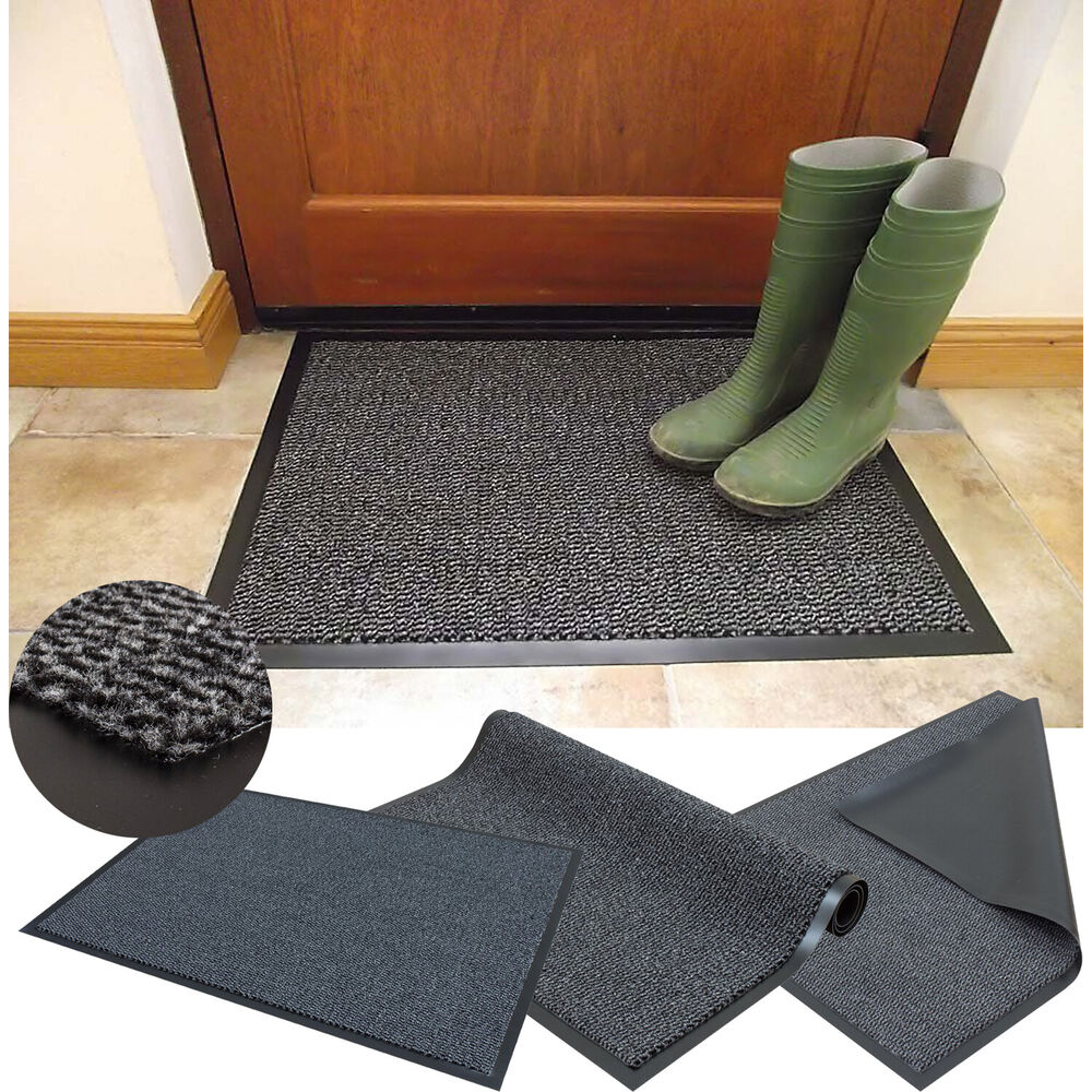 Black And White Rug Ebay Uk: GREY HEAVY DUTY BARRIER DIRT MAT NON SLIP RUBBER BACK HALL